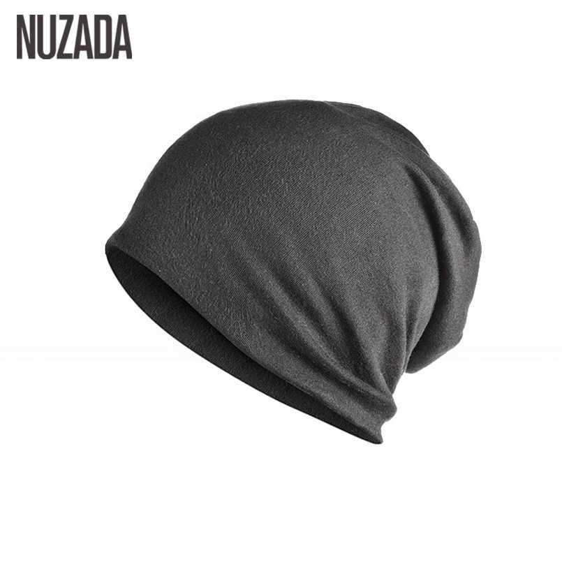 علامة تجارية NUZADA قبعات تحوط من القماش المحبوك من القطن المحبوك بطبقتين قبعات من القماش للجنسين بألوان سادة للرجال والنساء