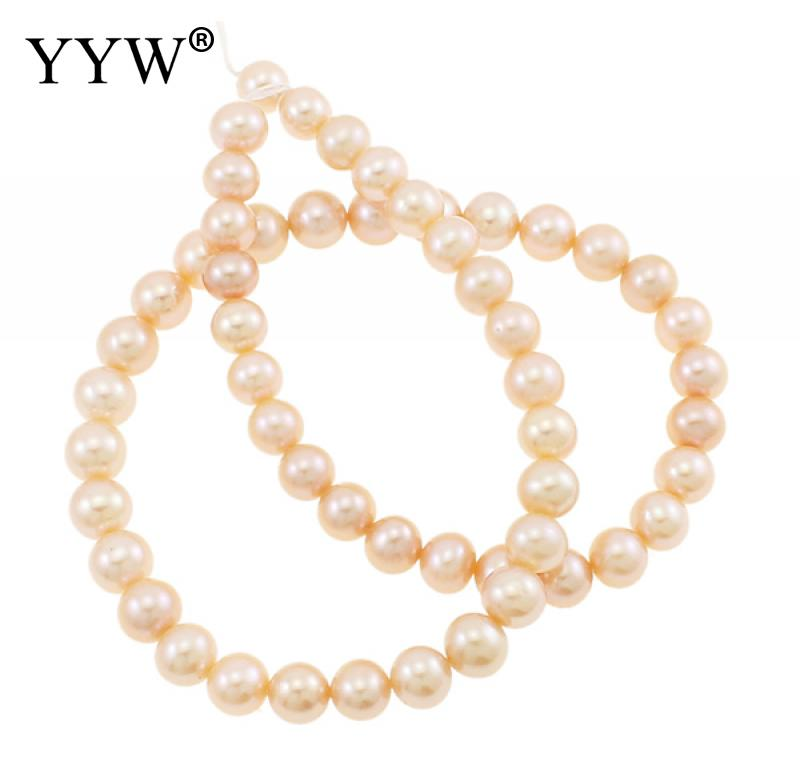 YYW High Quality 8-9mm 100% Natural Freshwater Pearl Beads pink Pearl Round Loose Beads DIY Necklace Bracelat Jewelry Making недорго, оригинальная цена