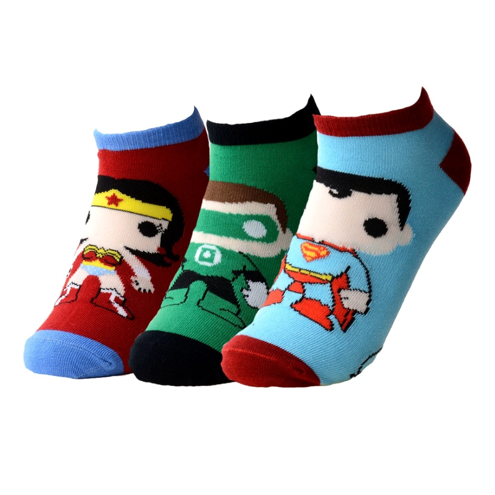 5 Colors Casual Mans Cute Cartoon No Show Socks Funny Super Man Cotton Socks High Quality Men Colorful Socks Unisex 2017