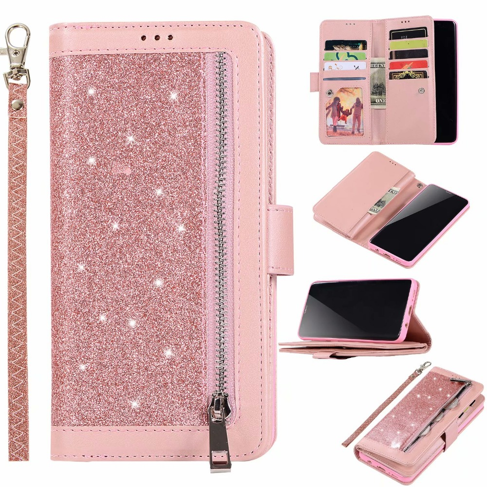 Zipper Coin Purse Card Slot Glitter Flip <font><b>Wallet</b></font> Leather <font><b>Case</b></font> Cover For <font><b>Samsung</b></font> Galaxy Note 10 Plus 9 8 S10E S10/9/8 Plus <font><b>S7</b></font> <font><b>Edge</b></font> image