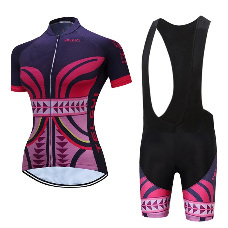 2018TELEYI  women cycling clothing mujer maillot ciclismo Bike Short Sleeve summer Cycling jersey mtb bib short set