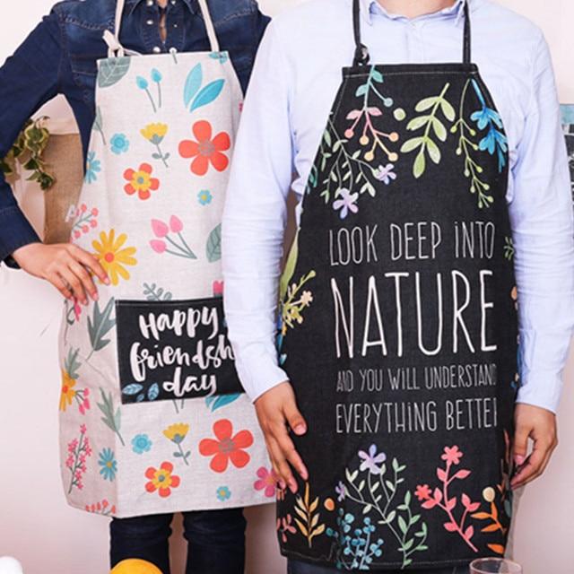 Aliexpress.com : Buy Floral Cotton Linen Long Bib Apron Home ...