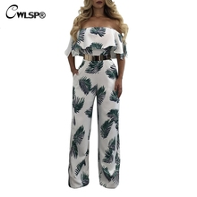 CWLSP Sexy Ruffles Jumpsuit For Women 2019 Fashion Summer Jumysuit With Print Floral Sheath Full Pants QZ2601