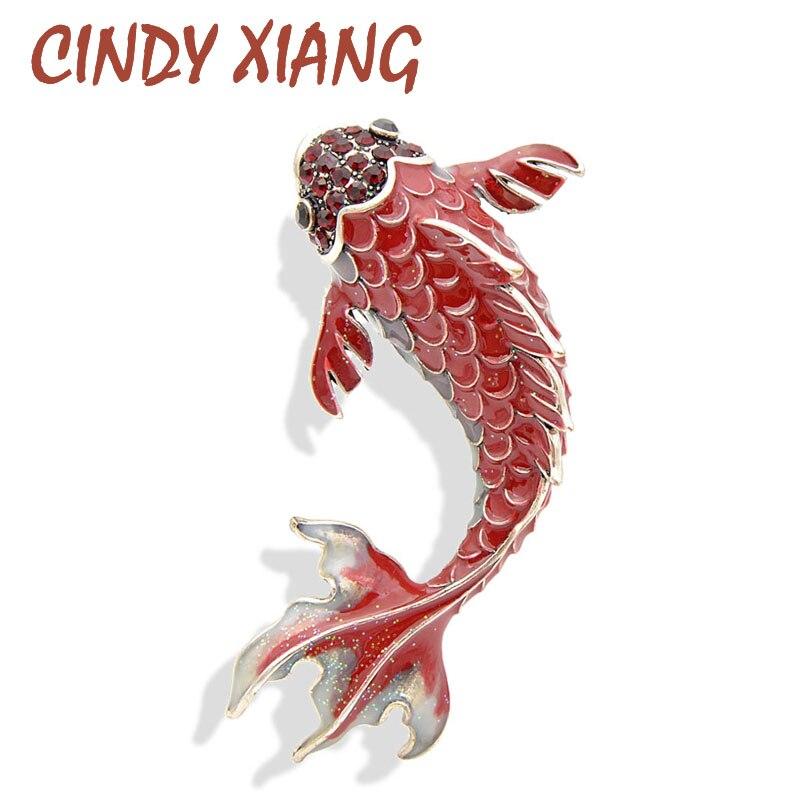 CINDY XIANG 3 цвета доступны красной эмалью Броши Рыба для женщин большой Карп шпильки животных стиль брошь модные украшения пальто Broch