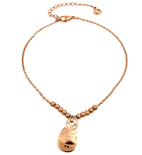 Lucky Cat bead Anklet  Rose Gold Titanium Steel Chain Women Barefoot Sandals Anklet Fashion Foot Chain Jewelry N004