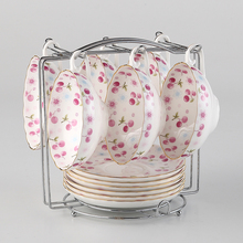 6 Pcs Vintage European Bone China Coffee Cups Set Ceramic Tea Cup And Saucer Set Noble Porcelain Cup For Gift Cafe
