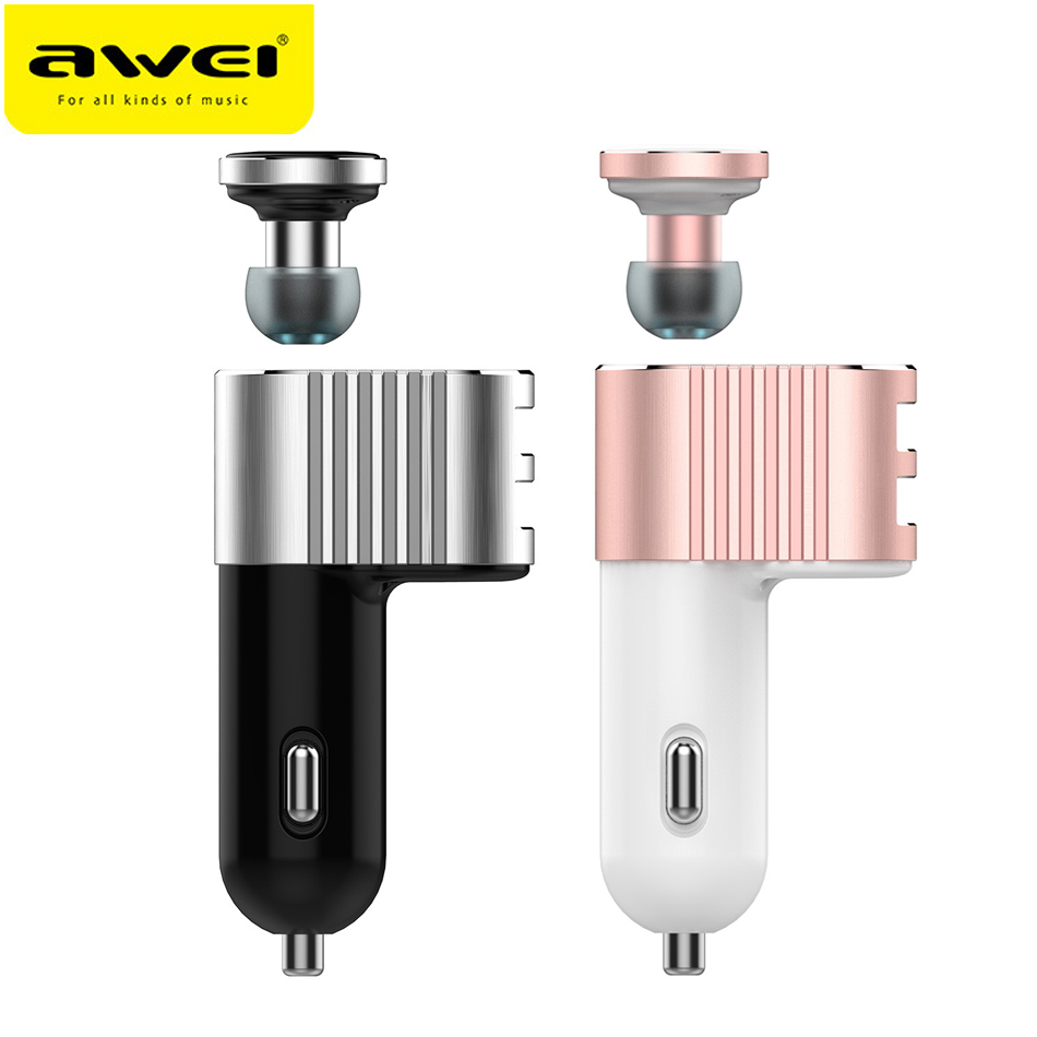 AWEI A871BL Mini Wireless Bluetooth Music Earphone USB Car Charger Headset Handsfree Earbuds Auriculares With Microphone 3in1 mini bluetooth headset kulaklik usb car charger safety hammer micro wireless earphone for samsung galaxy s7 auriculares