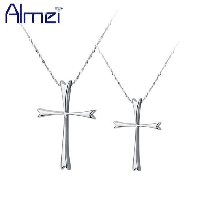Almei 2017 Cross Pendants Necklace for Men/Women Male Couple Charm Jewelry Silver Color Free Chain Pingente Masculino Gfits N129