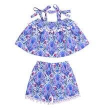3ff54bd41f09d Enfant en bas âge bébé fille Pompon glands Off Shoudler fronde imprimé  Floral Pompon glands hauts Shorts 2 PC tenue d été filles.