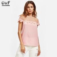 Dotfashion Pink Cutout Yoke Lace Trim Top Ladies Round Neck Short Sleeve Plain Shirt 2018 Summer