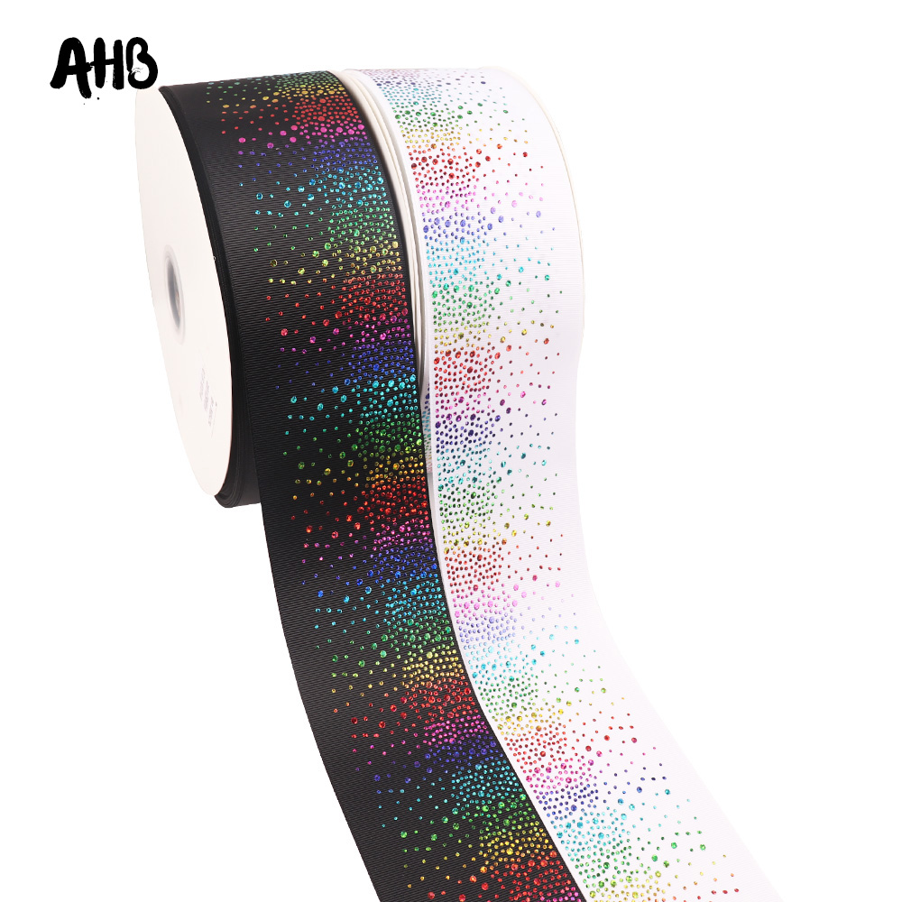 AHB Grosgrain Ribbon 75MM Colors Dots Printed Ribbon For Bows Clips Making Gifts Packing Wedding Party Decor Accessories