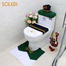 Creative Fashion Toilet Seat Cover Bathroom Mat Set Toilet Seat Cushion Green Bowknot Snowman 3pcs Christmas Decoration