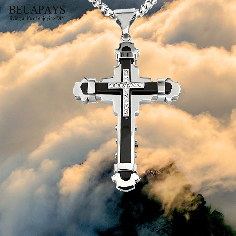 1pcs cross Jesus Christ Party Favors DIY Stainless steel alloy Cross multi-drill Stainless Steel Necklace Car Pendant pray gift