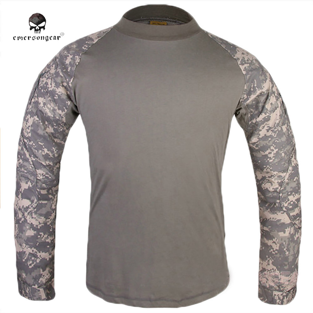 EMERSONGEAR Military Camouflage T-shirt Men Breathable Elastic Long Sleeve O Neck Outdoor Hunting Hiking Camping T Shirt