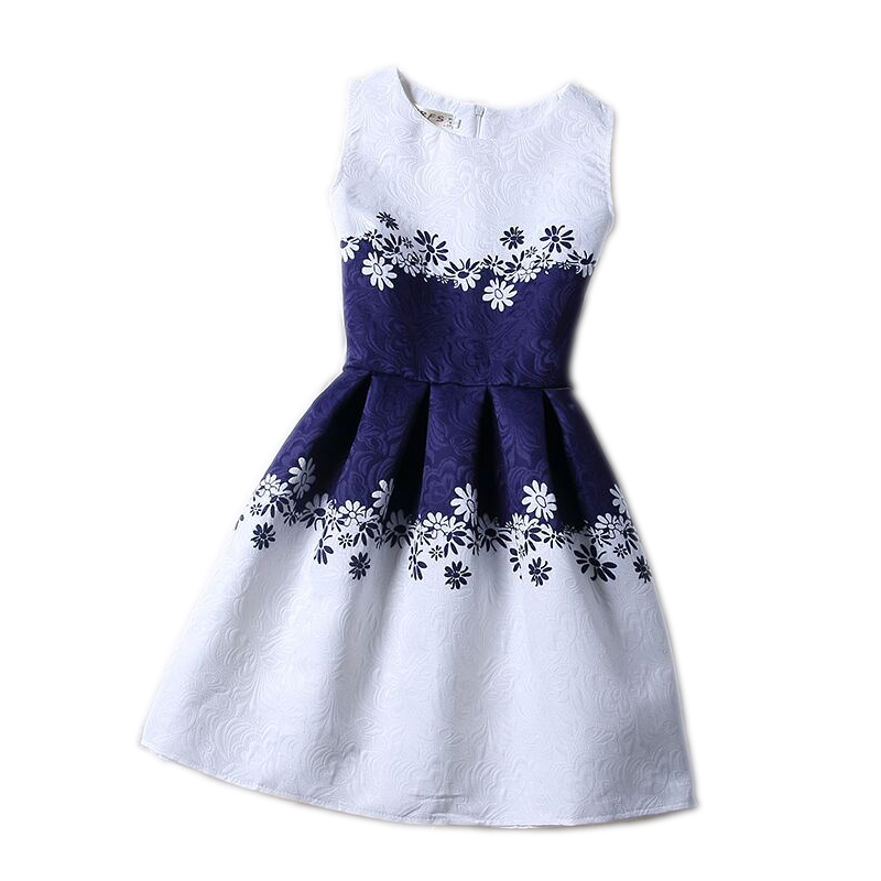 Cartoon castle summer sleeveless girls print dress knee length princess a line dress clothes for kids