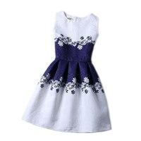 Castle Girls Summer Sleeveless Cartoon Print Dress Knee Length Princess A Line Dress Clothes For Kids