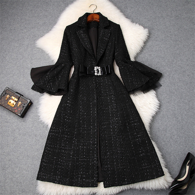 Fashion Brand Designers Winter Plaid Tweed Woolen Jackets and Coats Lady Notched Collar Flare Sleeve Vintage Wool Blend Overcoat