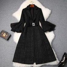 Fashion Brand Designers Winter Plaid Tweed Woolen Jackets an
