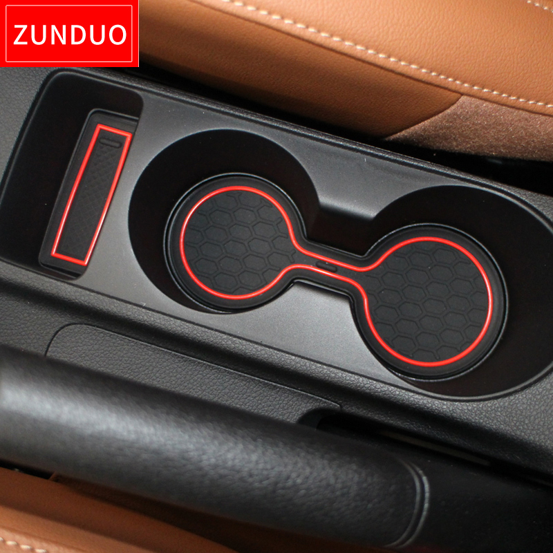 ZUNDUO Anti-Slip Gate Slot Mat For Kia Rio X-Line RIO 2017 2018 2019 RIO4 Rubber Cup Holders Non-slip Mats Coaster Accessories
