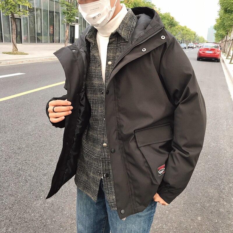 Erkek Kıyafeti'ten Parkalar'de 2018 Yeni Rüzgar erkekler kış Cep ceket Pamuk dolgulu Giysiler Kalın Çin Tarzı Yüksek Sokak Rahat Siyah /gri M 5XL'da  Grup 1