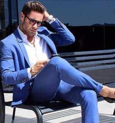 2018 мода голубой новый Для мужчин костюм bespoke воротником одна кнопка Для мужчин термокомплекты смокинги (куртка + брюки)