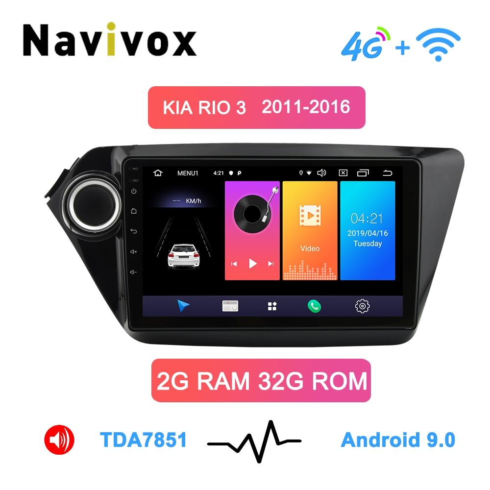 Navivox Android9.0 autoradio 2 Din voiture DVD GPS pour kia k2 Rio 2010 2011 2012 2013 2014 2015 2016 2017 Radio magnétophone Navi