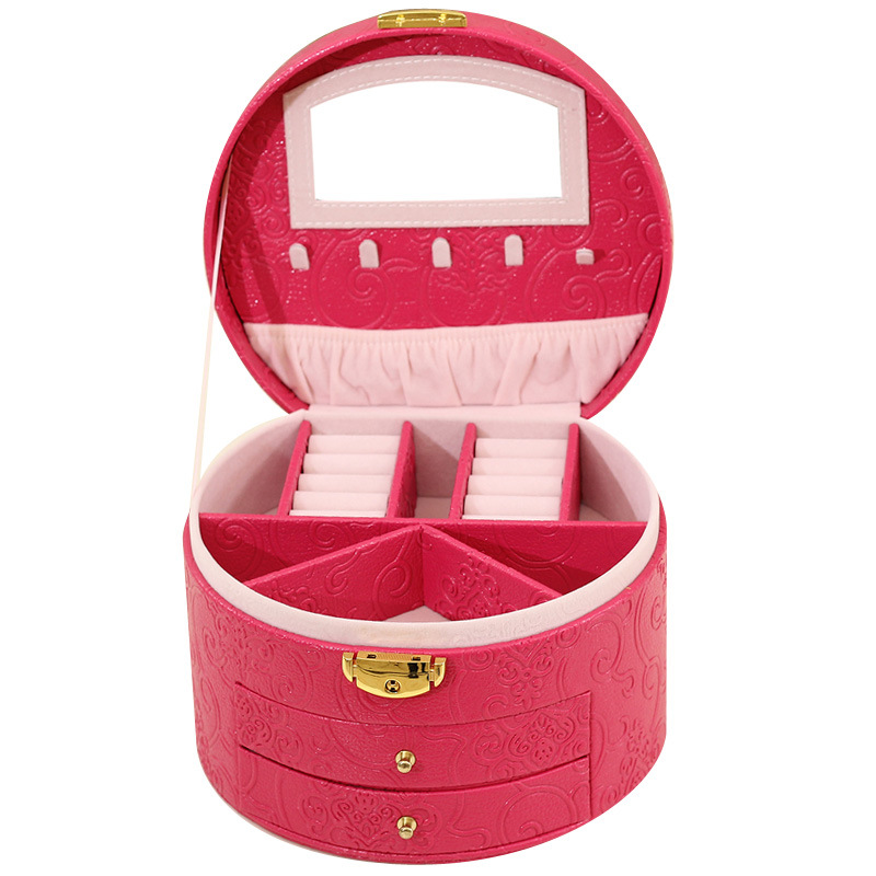 Guanya Jewelry Display carrying Box Organizer Flannel leather