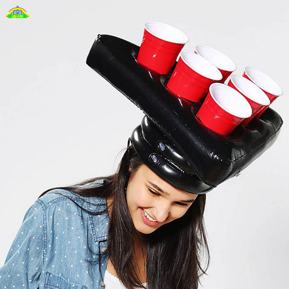 Funny Inflatable Party Hat PVC Toss Game Fun Toys Throwing Ring Adult Kids Beer Pong Hat Head Ferrule Tools Gifts