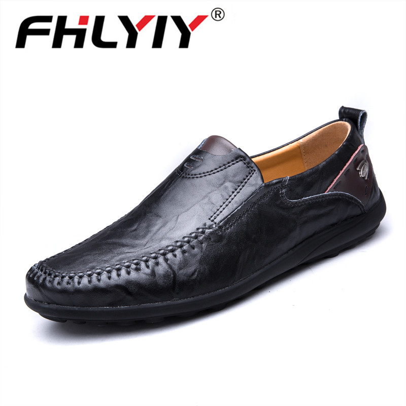 Brand 2019 New Luxury Genuine Leather Flats Italian Mens Loafers Men Shoes Casual Fashion Slip On Driving Designer