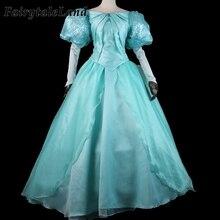プリンセスアリエルコスプレ衣装ハロウィンファンシードレスリトルマーメイドアリエルドレスカスタムメイドスパンコールレースアップガウンスーツ