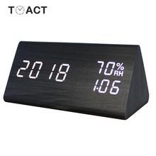 Деревянный светодиодный Будильник, будильник, электронные настольные цифровые часы с функцией измерения температуры и влажности, будильник для спальни, домашний декор