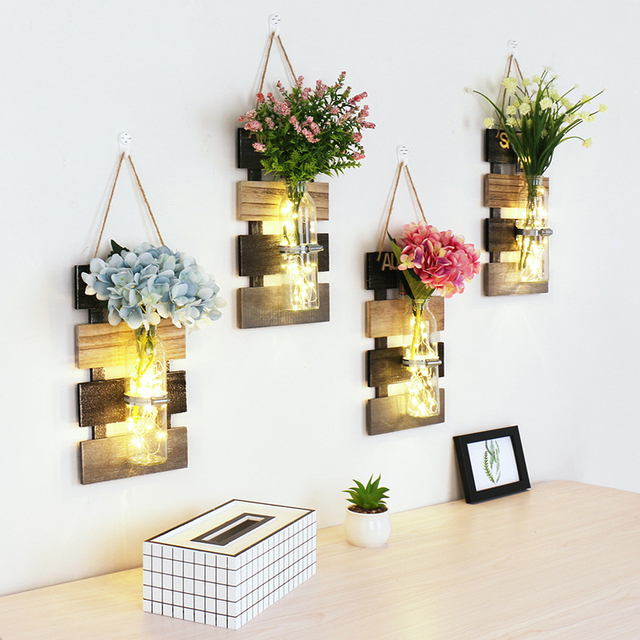 1pc Ins Style Mason Jar Sconces With Led Fairy Lights Flowers Wall Light Rustic Home Decor For Cafe Bar Christmas