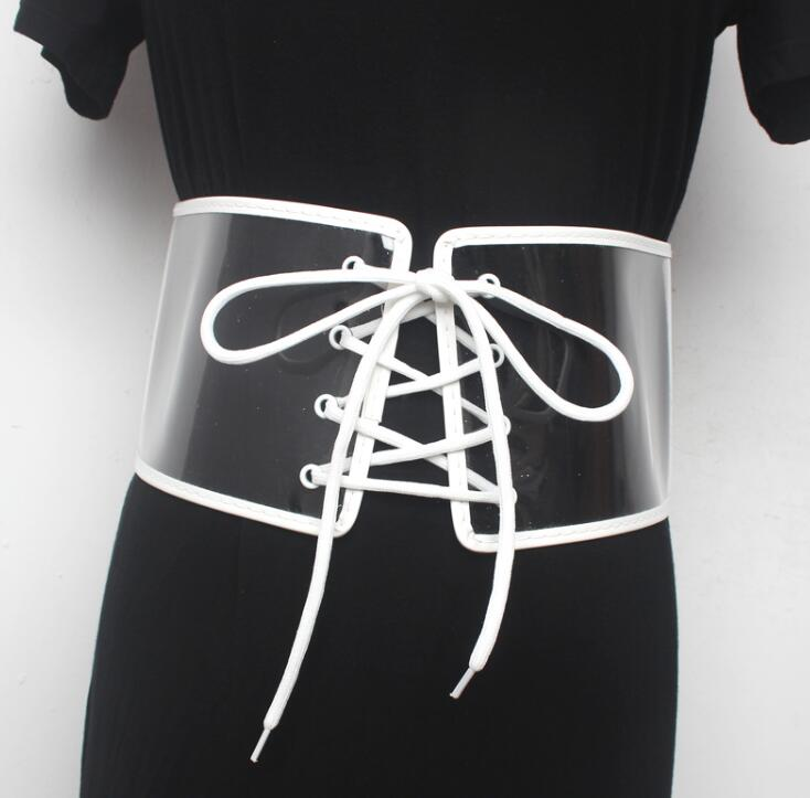 Women's Runway Fashion Transparent PVC Cummerbunds Female Dress Corsets Waistband Belts Decoration Wide Belt R1587