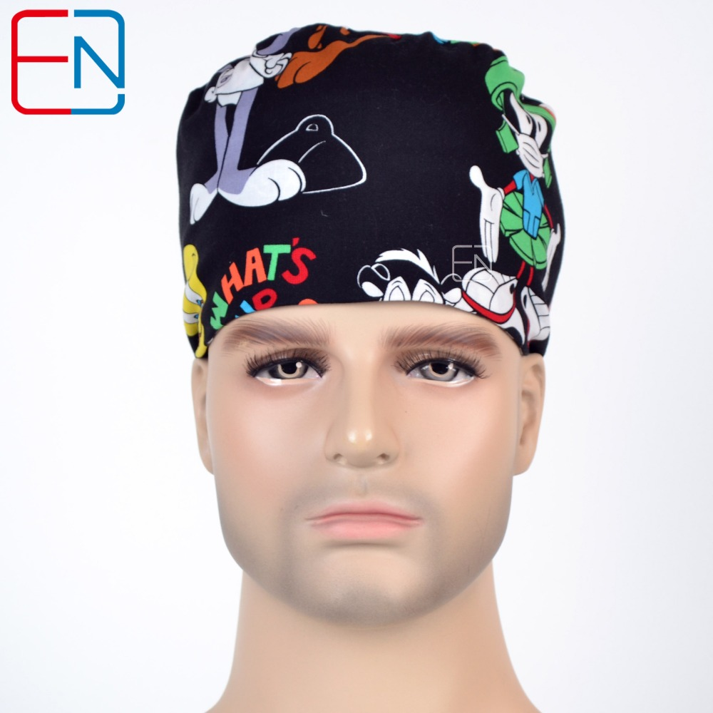 Hennar surgical caps for women  with sweatband 100% cotton Medical caps in black with cute pattern