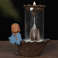 F Creative Glass Cover Monk Incense Burner Home Decor Ceramic Smoking Backflow Sandalwood Incense Holder Office Buddha Ornaments