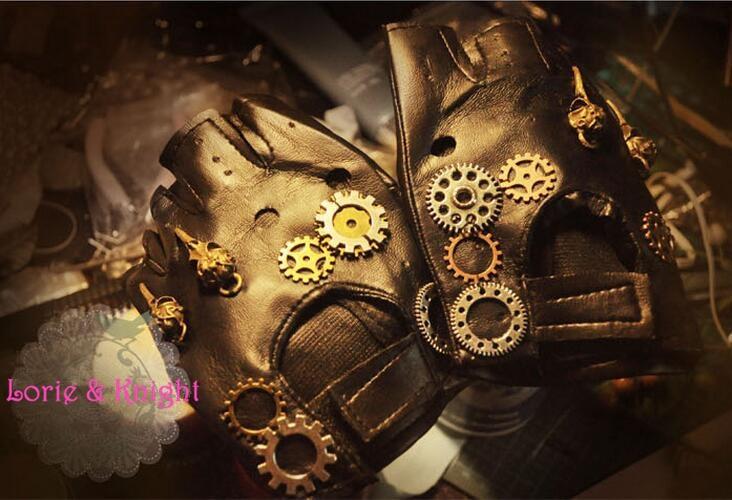 Japaneseապոնական Harajuku Vintage Steampunk Gear ձեռնոցներ Punk Lolita Cosplay PU կաշվե ձեռնոցներ