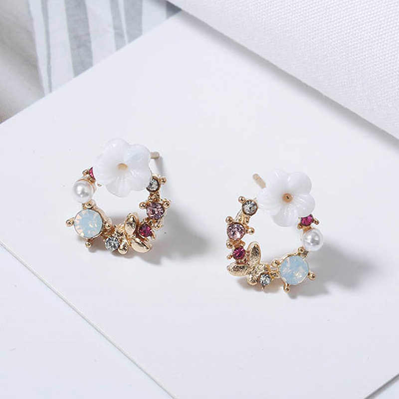 2018 new colorful Rhinestone crown earrings for women sweet flower Shell small circle wedding jewelry