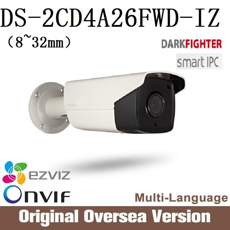 HIKVISION DS-2CD4A26FWD-IZ 8-32mm Ip Camera Cctv 1080p Poe Ip67 smart IR English Version WDR Onvif RJ45 darkfight hikvision ds 2cd4a25fwd iz 2mp smart ip camera cctv bullet 1080p poe ip67 ir english version h265 wdr onvif rj45 lightfighter
