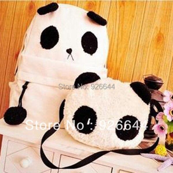 купить New Hot Fashion Cute Women Style Panda Schoolbag Backpack Shoulder Book Bag Set недорого