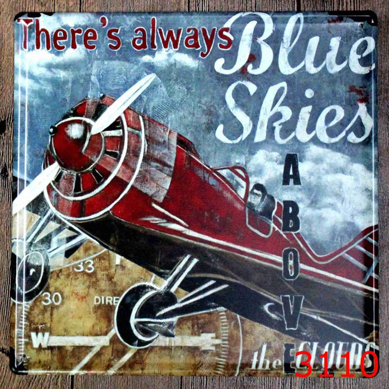 30x30cm Vintage Airplane Home Decor Tin Sign For Wall