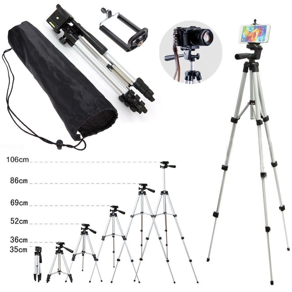 Professional Aluminum Camera Tripod Stand Holder font b Phone b font Holder Nylon Carry Bag for