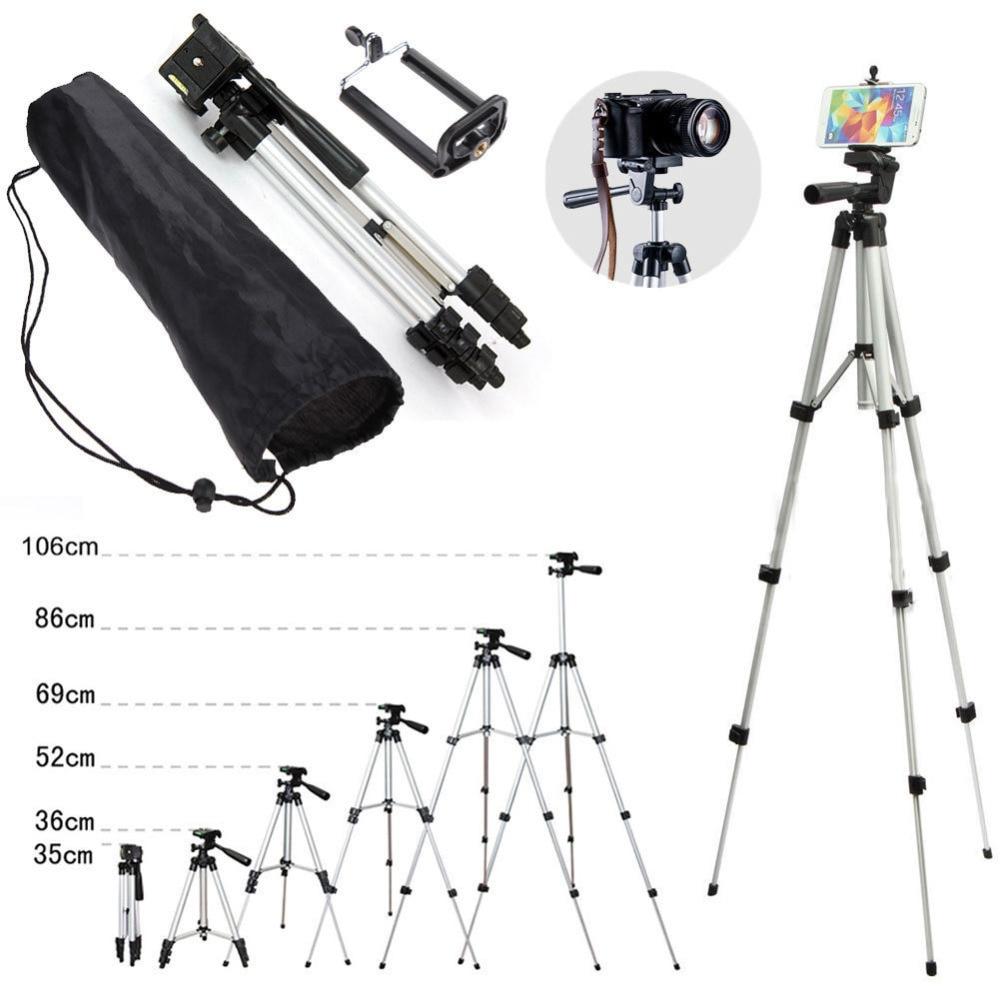 Professional Aluminum Camera Tripod Stand Holder + Phone Holder +Nylon Carry Bag