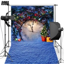 Christmas Clock Vinyl Photography Background Snow Oxford Backdrop For Children photo studio Props 853