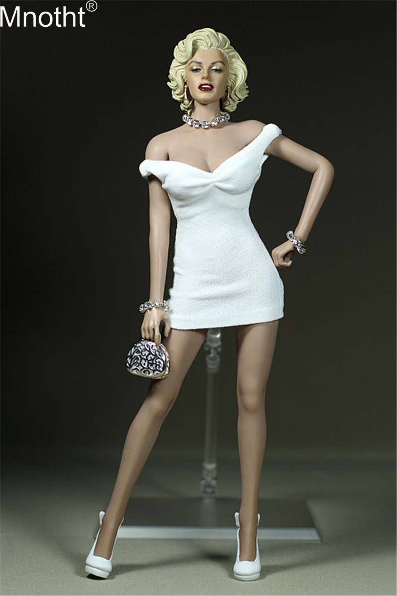 Mnotht 1/6 Marilyn Monroe Mini Skirt Model Female Dress Camisole Pack Hip <font><b>Sexy</b></font> Clothing Toy for <font><b>12</b></font>'' Soldier Action Figure image