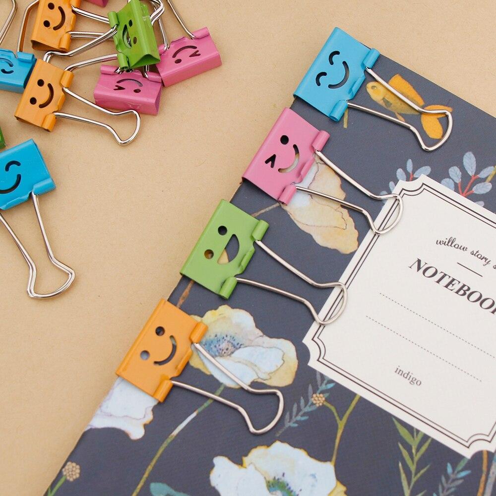 10 шт. общий Смайла милой зажимы для дома офисные книги файл органайзер для бумаг 19 мм(Ш)* 37 мм(L
