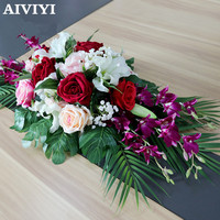 Artificial Flower Rose Lily Orchid Conference Business Office Long Table Flower Speech Table Negotiation Hotel Table Decoration
