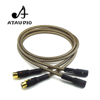 One Pair ATAUDIO Silver plated Hifi 2 XLR Cable Hi end XLR Male to XLR Female Cable With Gold plated XLR Connector