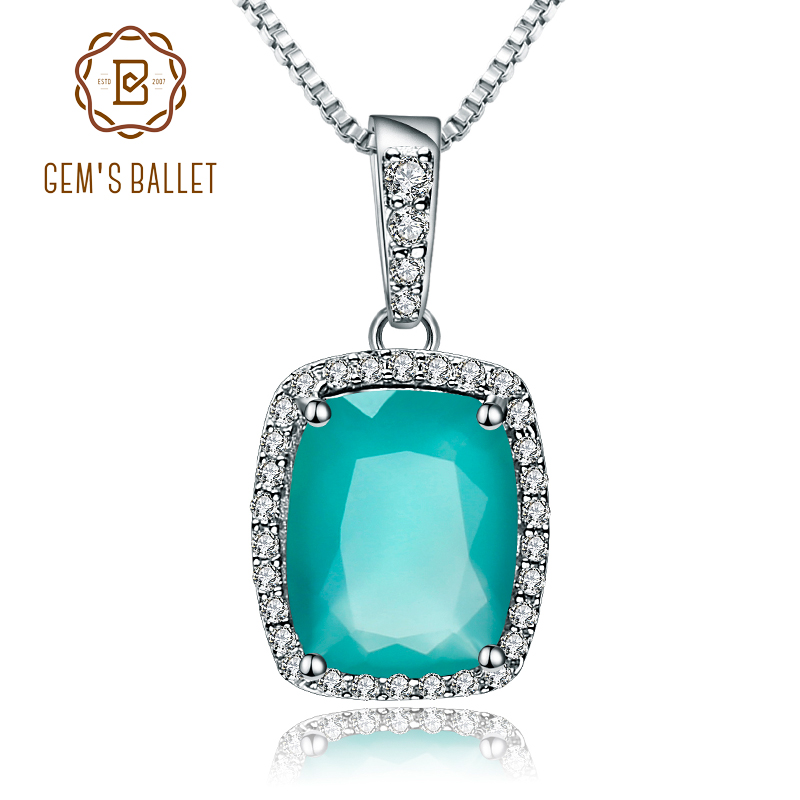 GEM'S BALLET  3.67Ct Natural Green Agate Gemstone Pendant Necklace For Women 925 Sterling Silver Fine Jewelry Drop Shipping