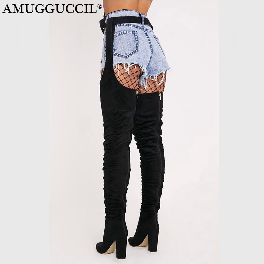 2020 New Plus Big Size 35-43 Black Pleated Fashion Sexy High Heel Over The Knee Autumn Winter Long Ladies Women Boots X1809