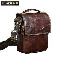"Quality Original Leather Male Casual Shoulder Messenger bag Cowhide Fashion Cross-body Bag 8"" Pad Tote Mochila Satchel bag 144r"